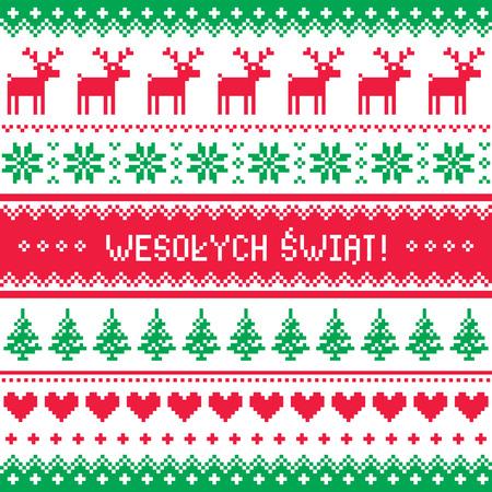 Wesolych Swiat card - scandynavian christmas pattern Vector