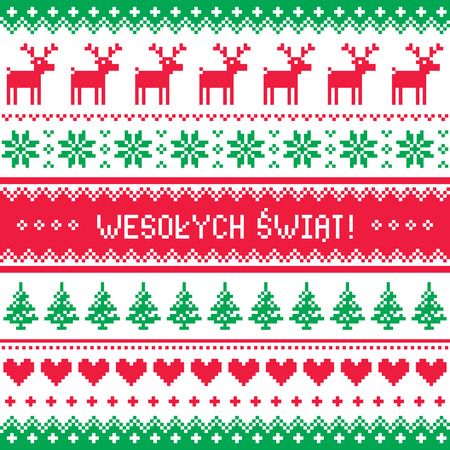 scandynavian: Wesolych Swiat card - scandynavian christmas pattern