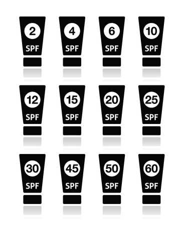 twenty six: Sun cream, sunblock with factor or spv icons set