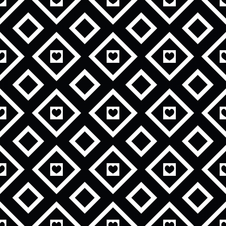 Abstract black and white seamless pattern with hearts Vector
