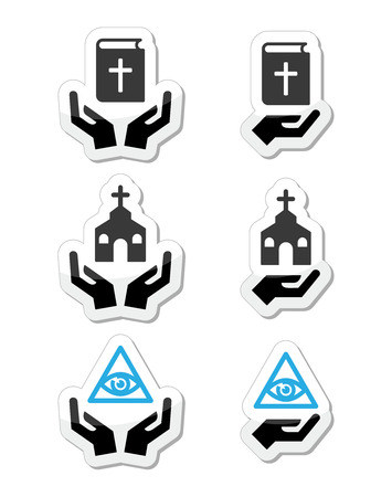 Religion icons - hands with bible, church, eye of god Vector