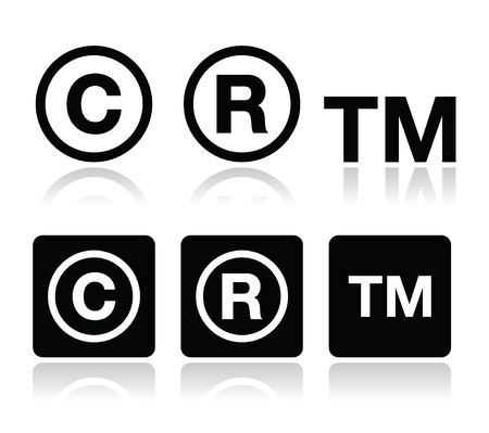 copyright: Copyright, trademark vector icons set