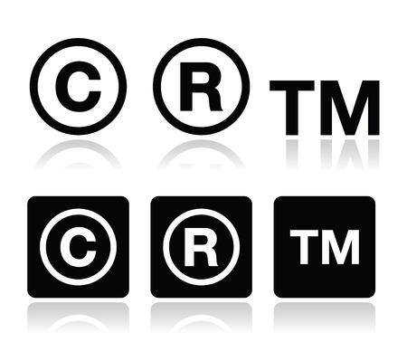 r image: Icone di copyright, marchio di fabbrica insieme vettoriale