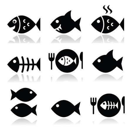 thực phẩm: Cá, cá trên đĩa, biểu tượng vecotor xương