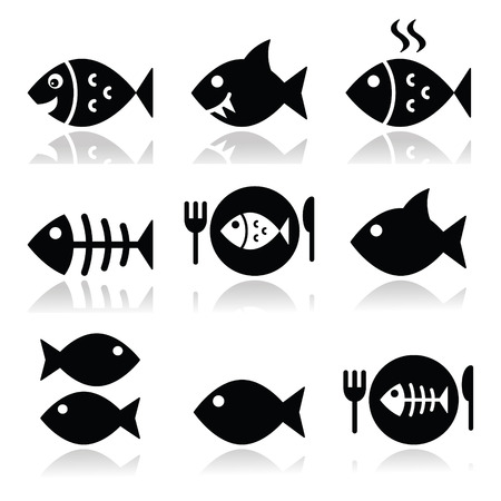 fish silhouette: Fish, fish on plate, skeleton vecotor icons