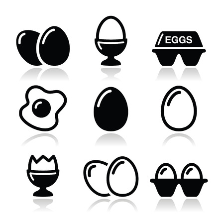 Egg, fried egg, egg box icons set Stock Vector - 23884979