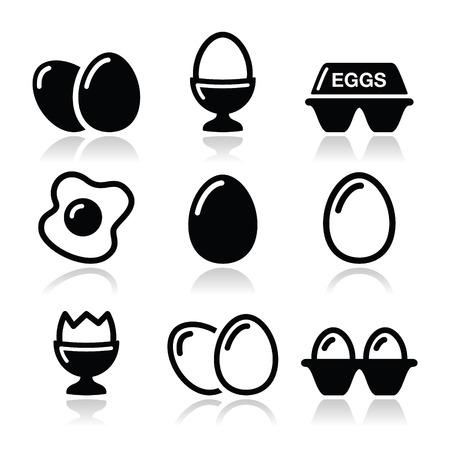 huevos fritos: Huevo, huevo frito, iconos de caja de huevo establecidos Vectores