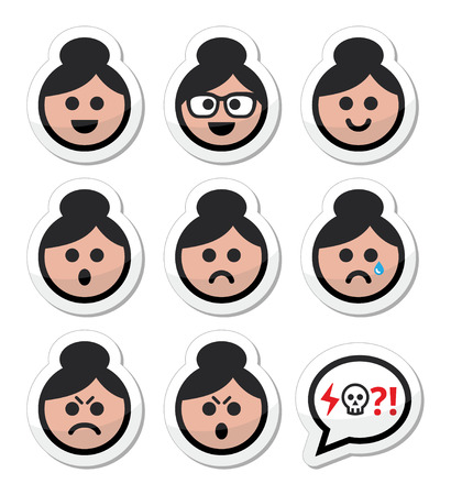 pissed off: Grandma face, woman with bun hair vector icons set Illustration