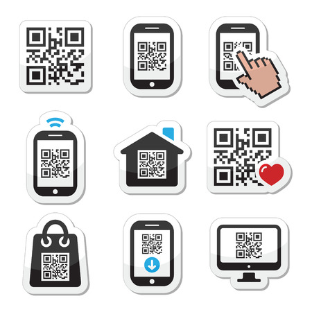 smartphone hand: QR code on mobile or cell phone icons set