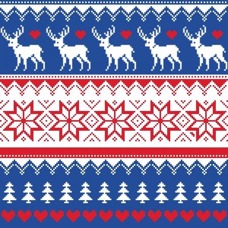 Nordic naadloze patroon met herten en kerstbomen Stock Illustratie