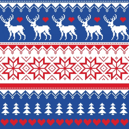 Nordic seamless pattern with deer and christmas trees Vector