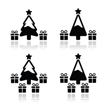 Christmas tree with presents icons set Stock Vector - 24020350