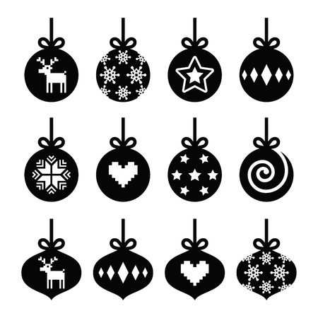 baubles: Christmas ball, christmas bauble vector icons set
