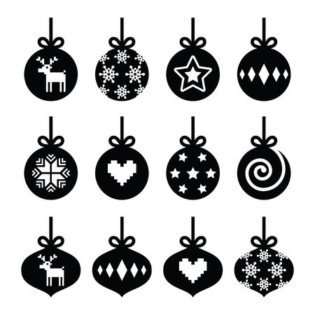 christmas deer: Christmas ball, christmas bauble vector icons set
