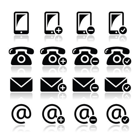 Contact icons set - mobile, phone, email, envelope Vector