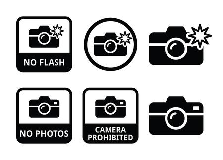 avviso importante: Nessuna foto, niente telecamere, niente icone in flash Vettoriali