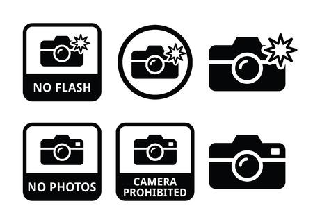 take: No photos, no cameras, no flash icons