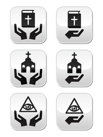 Religion buttons - hands with bible, church, eye of god Vector