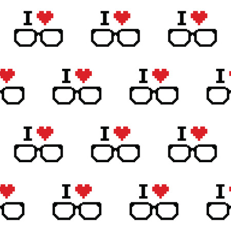 geeky: I love geeks, glasses seamless pattern