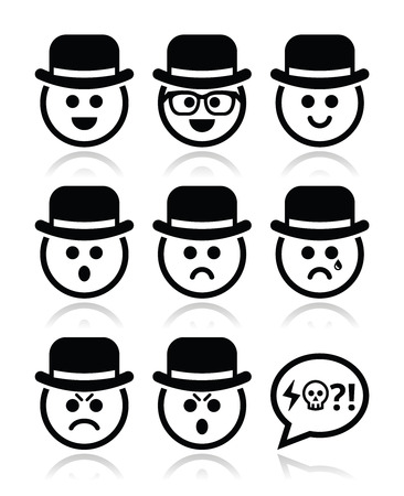 pissed off: Man in hat faces vector icons set