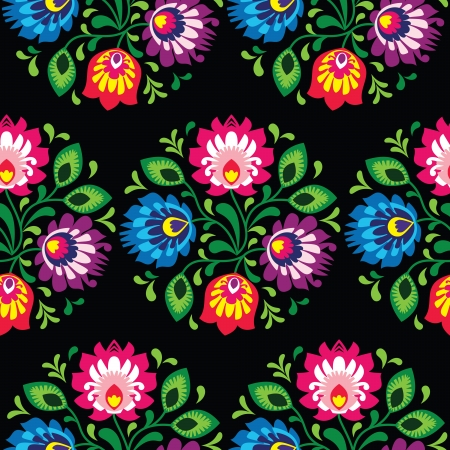 kaszuby: Seamless traditional floral polish pattern - ethnic background Illustration