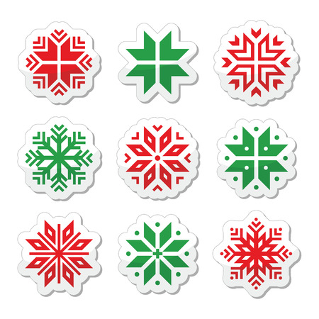 Christmas, winter snowflakes vector icons set Stock Vector - 24026031