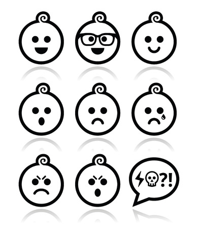 pissed off: Baby boy faces, avatar vector icons set
