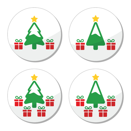 Christmas tree with presents icons set Vector