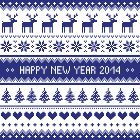 Happy New Year 2014 - scandynavian christmas pattern Vector