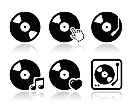 dj: Vinyl record, dj vector icons set