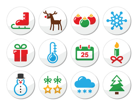 Christmas winter colorful icons set as round labels Vector