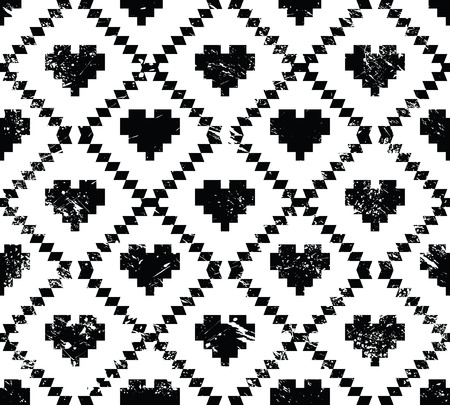 Seamless aztec tribal pattern with hearts - grunge, retro style Stock Vector - 24199142
