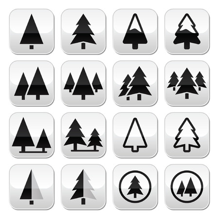 application recycle: Pine tree vector buttons set  Illustration