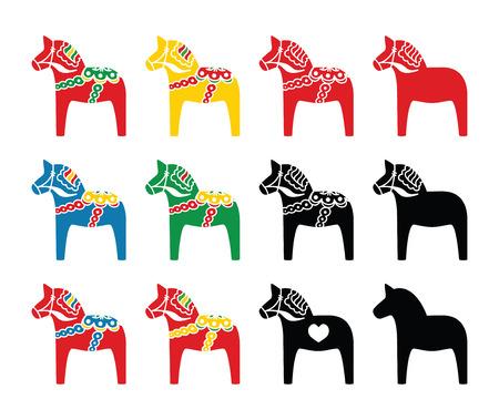 caballos negros: Iconos vectoriales de caballos suecos del dala establecen