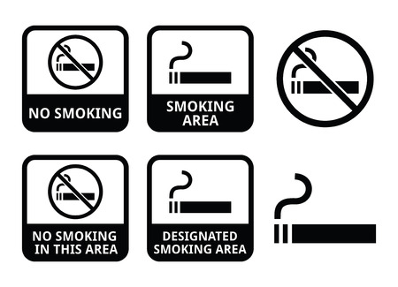 No smoking, smoking area vector icons set Vector