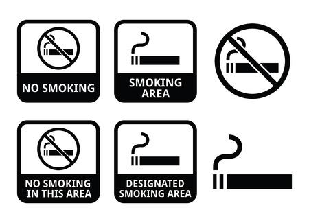 No smoking, smoking area vector icons set Stock Vector - 24200621