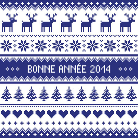 Bonne Annee 2014 - french happy new year pattern Stock Vector - 24200629