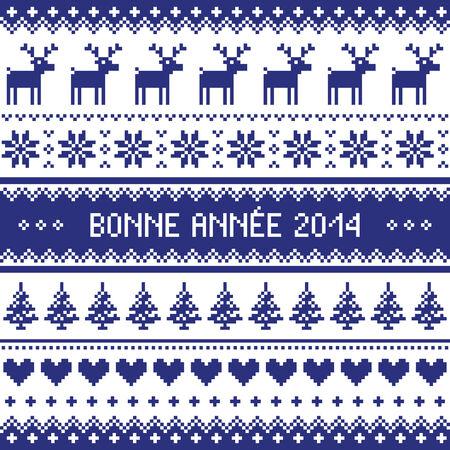 scandynavian: Bonne Annee 2014 - french happy new year pattern Illustration