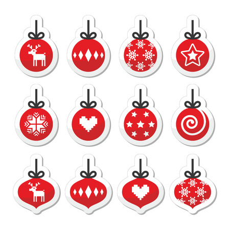 Christmas ball, christmas bauble vector red icons set  Vector
