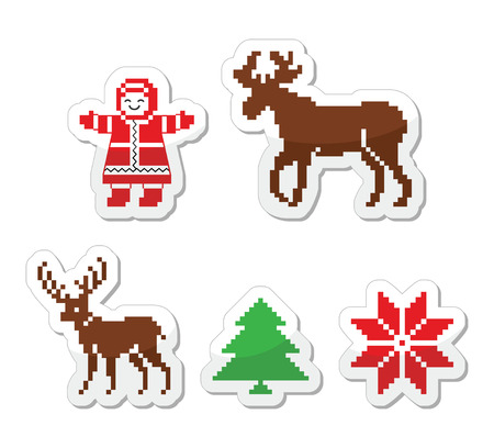 knitted: Christmas winter pixelated vector icons set
