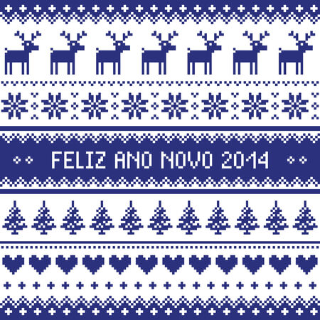 Feliz Ano Novo 2014 - protuguese happy new year pattern Vector