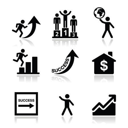 El éxito en los negocios, Iconos de auto-desarrollo Ilustración de vector