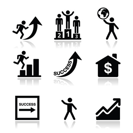 Success in business, self development icons set Stock Vector - 24201609