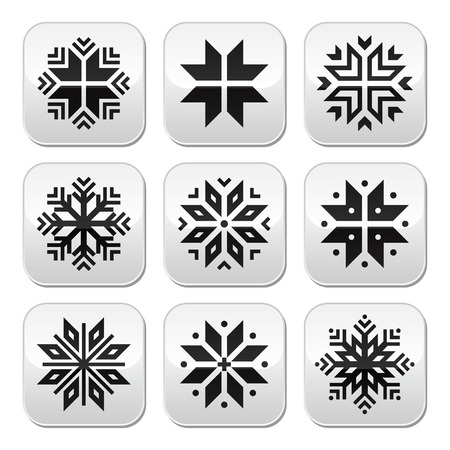 Christmas, winter snowflakes vector buttons set Vector