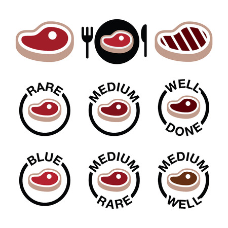 strip a cow: Steak - medium, rare, well done, grilled icons set Illustration