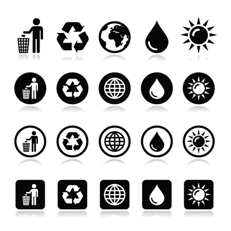 Man and bin, recycling, globe, eco power icons set Illustration
