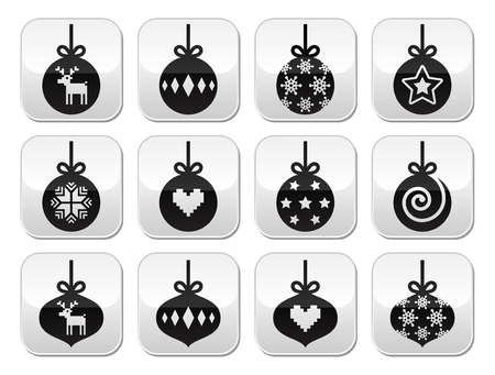 Christmas ball, christmas bauble vector buttons set  Vector