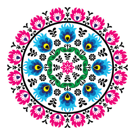Polish traditional folk pattern in circle Ilustrace