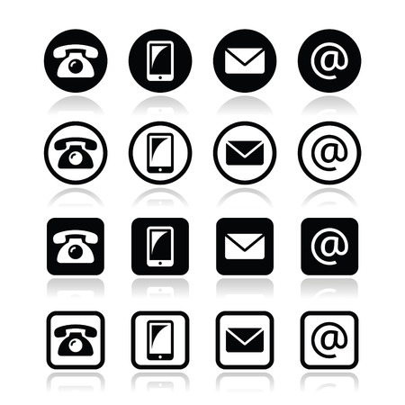 get in touch: Contact icons in circle and square set - mobile, phone, email, envelope
