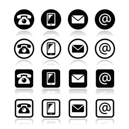 iconos contacto: Contactar con iconos en c�rculo y cuadrado apoyado - m�vil, tel�fono, email, sobre